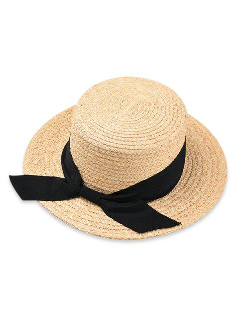 Bowknot Embellished Flat Top Straw Hat - BLACK