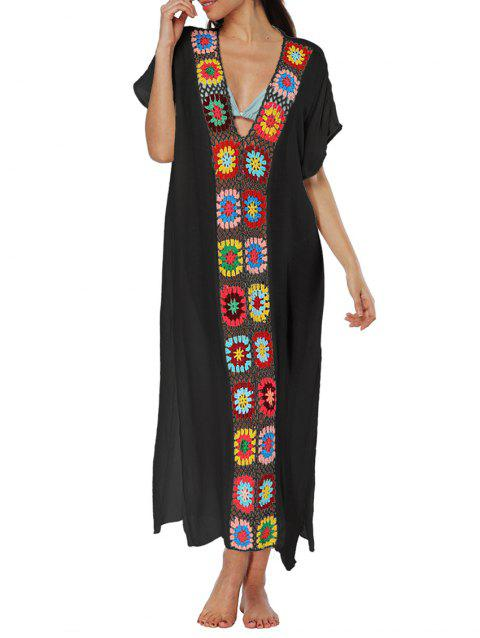 Side Slit Crochet Panel Beach Cover Up - BLACK ONE SIZE
