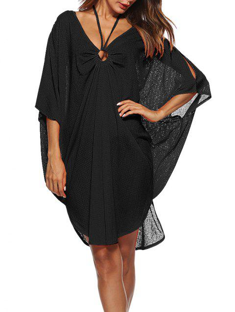 Dolman Sleeve Hoop Front Beach Cover Up Dress - BLACK ONE SIZE