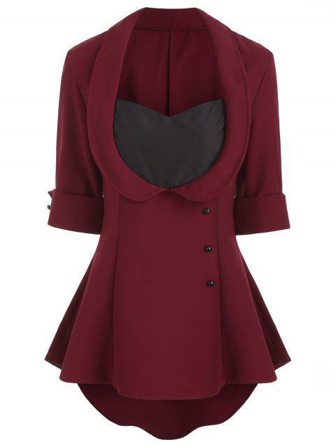 Asymmetric Contrast Top with Criss Cross - RED WINE S