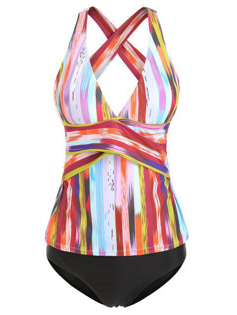 Contrast Striped Overlap Tankini Set - multicolor S
