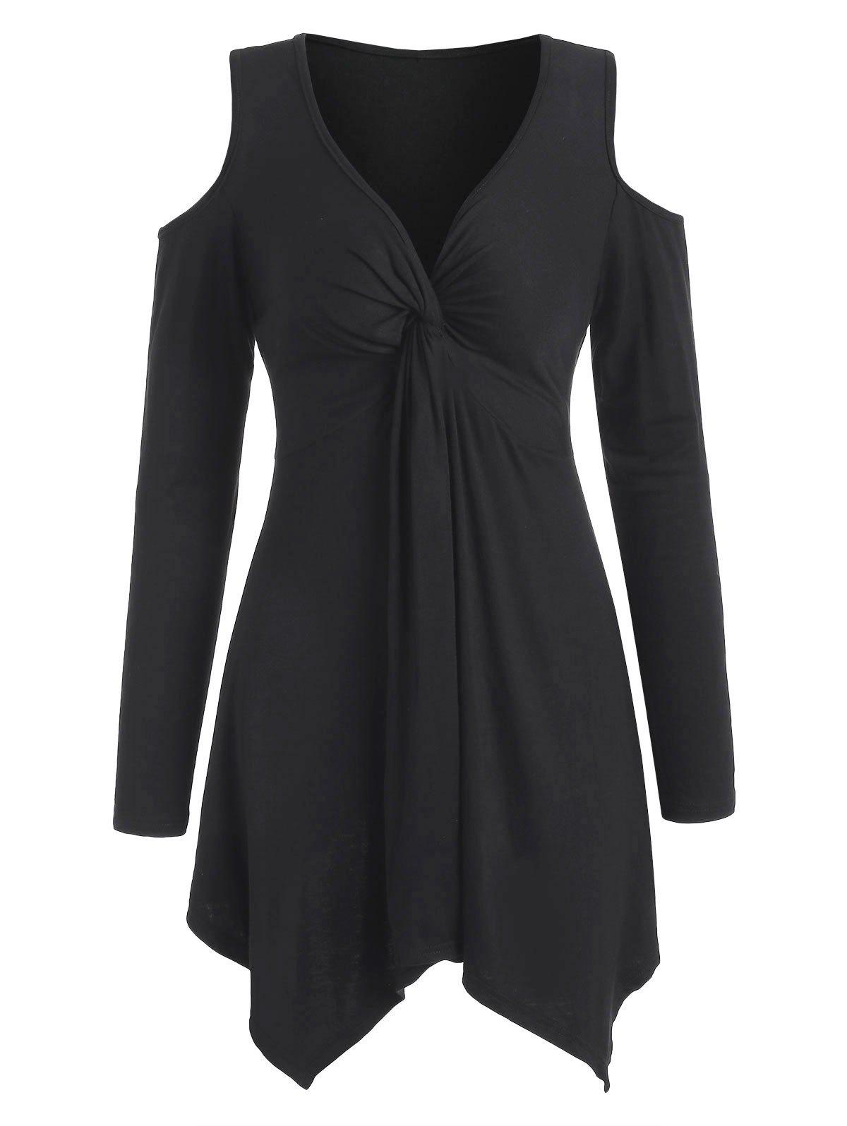 Knotted Long Sleeve Swing Dress - BLACK XL