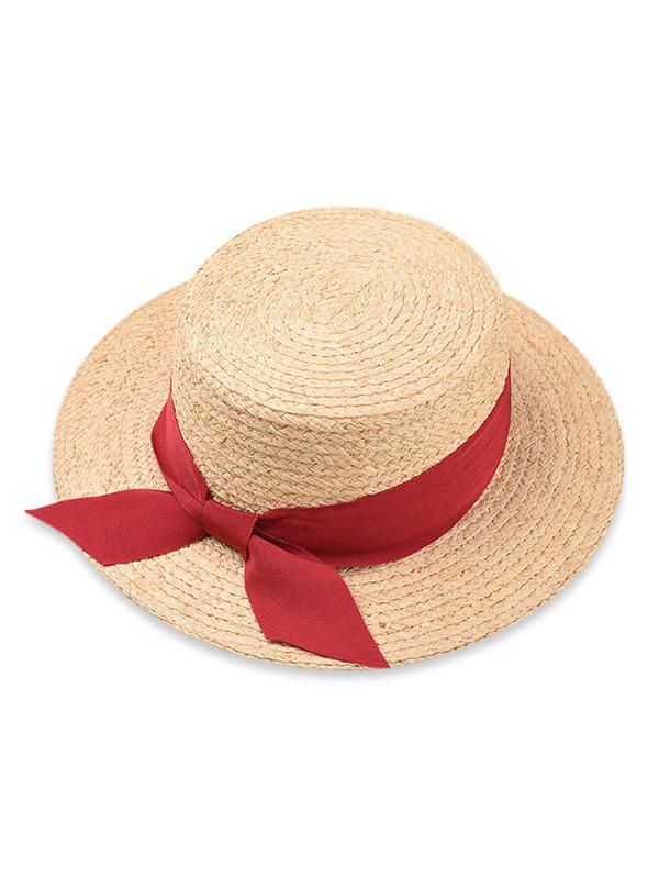 Bowknot Embellished Flat Top Straw Hat - RED