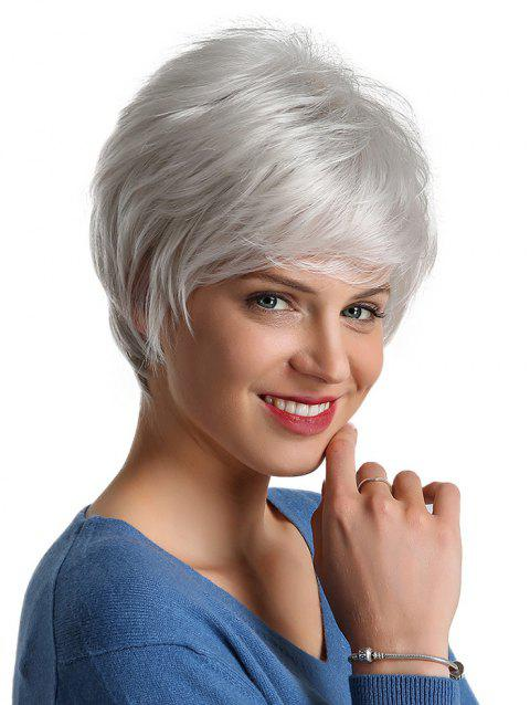 Side Part Fluffy Short Straight Synthetic Wig - CRYSTAL CREAM