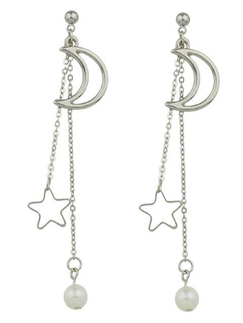 Moon and Star Drop Earrings - SILVER