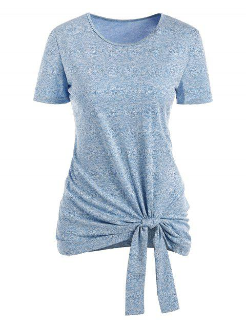 Round Neck Space Dye Knotted Tee - BLUE GRAY 2XL