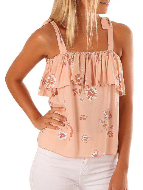 Flower Print Ruffle Tank Top - DEEP PEACH S