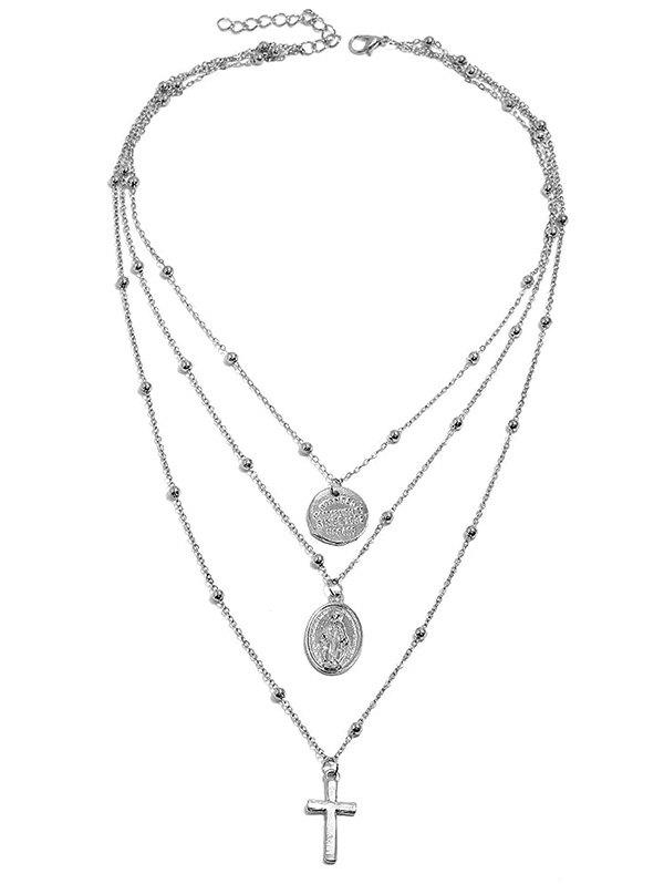 Cross Pendant Multi Layered Necklace - SILVER