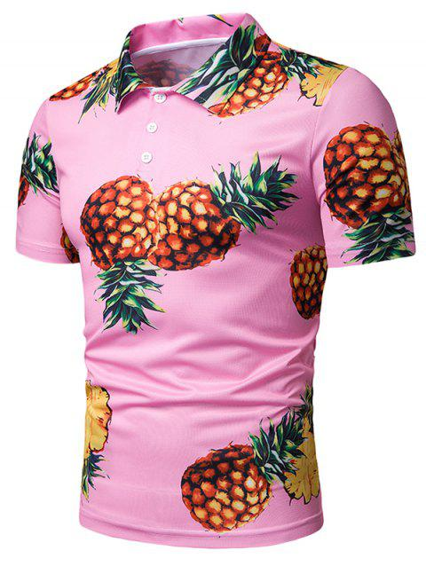 Pineapple Print Short Sleeve T Shirt - multicolor XL