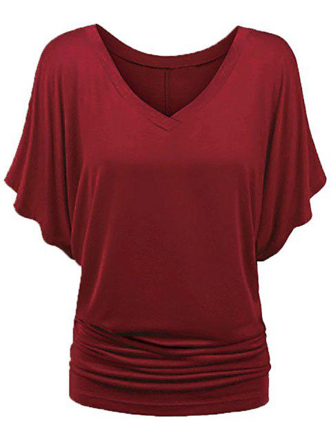 Ruched Batwing Sleeve T-shirt - RED WINE L