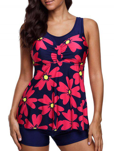 Floral Print Padded Tankini Set - multicolor 2XL