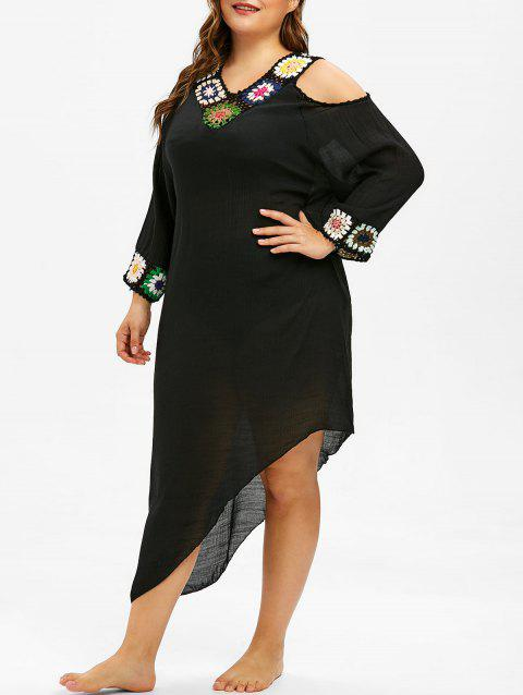 Plus Size Asymmetric Crochet Panel Cover Up Dress - BLACK ONE SIZE