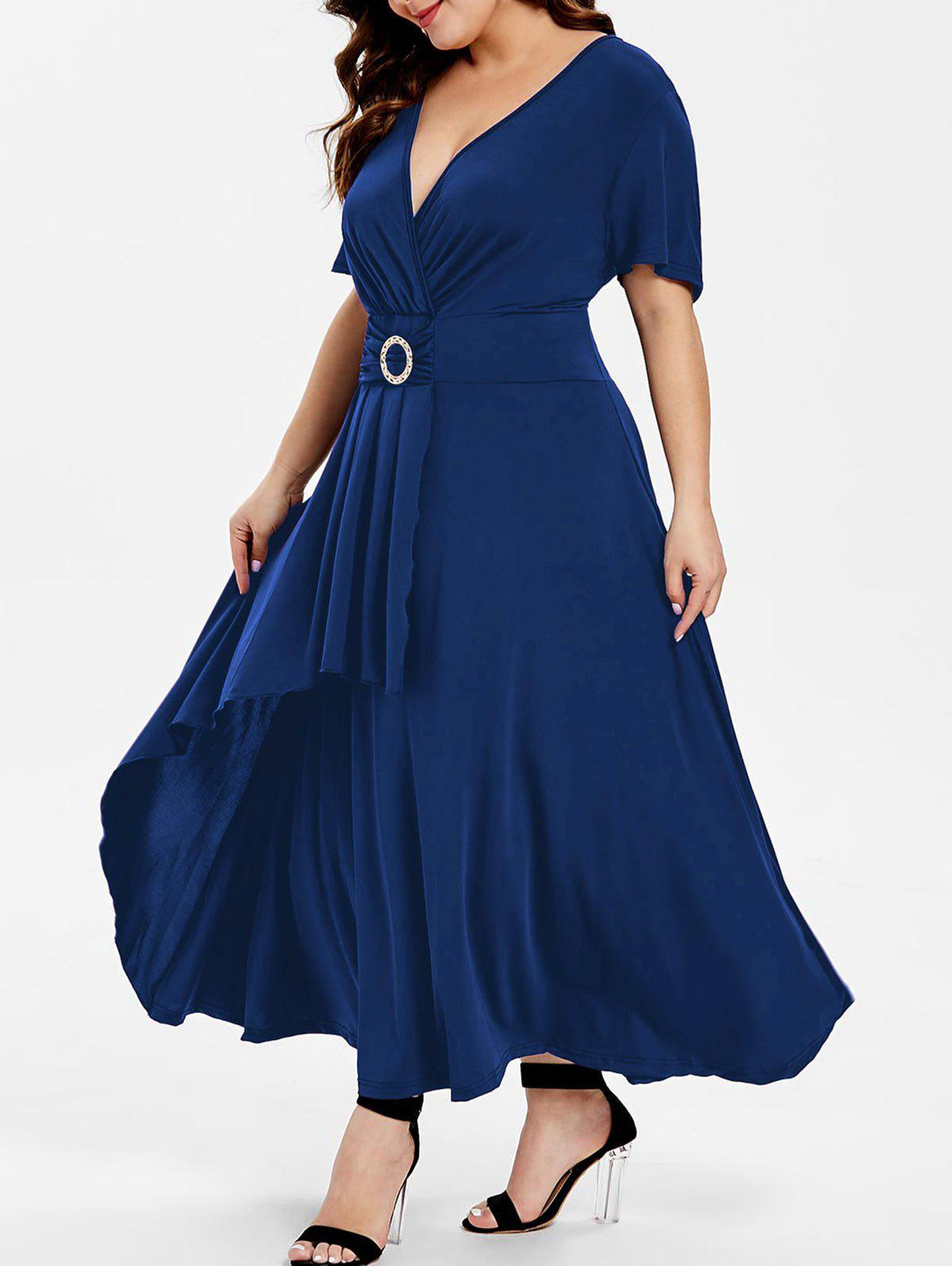 Short Sleeve High Waist Flare Dress - LAPIS BLUE L