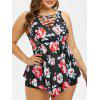 Plus Size Floral Print Criss Cross Peplum Tankini Set - BLACK 2X
