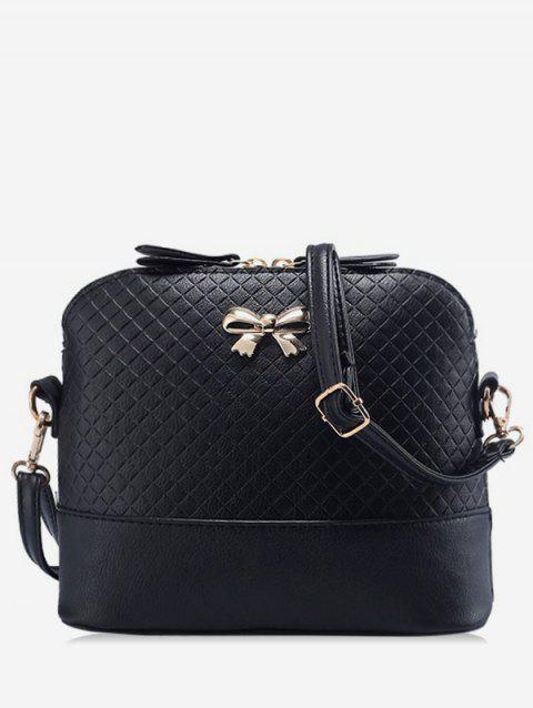 Check Bowknot Shell Shape Crossbody Bag - BLACK