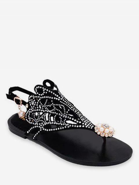 17942e891c29 2019 Hollowed Rhinestone T Strap Flat Sandals In BLACK EU 38 ...