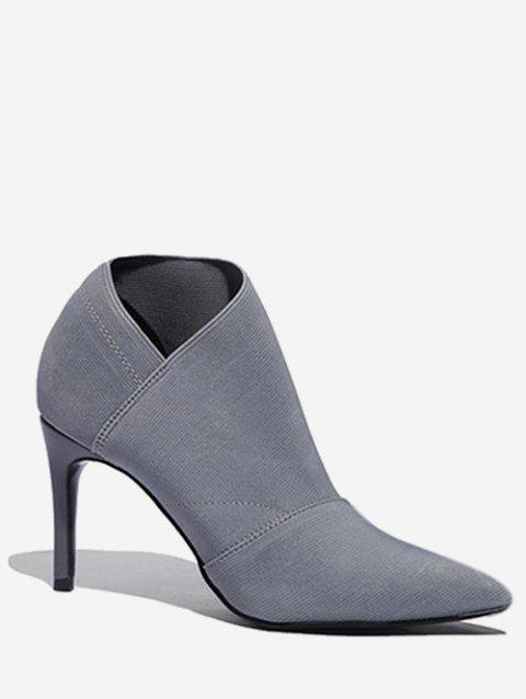 Pointed Toe Sock Ankle Boots - BLUE GRAY EU 37