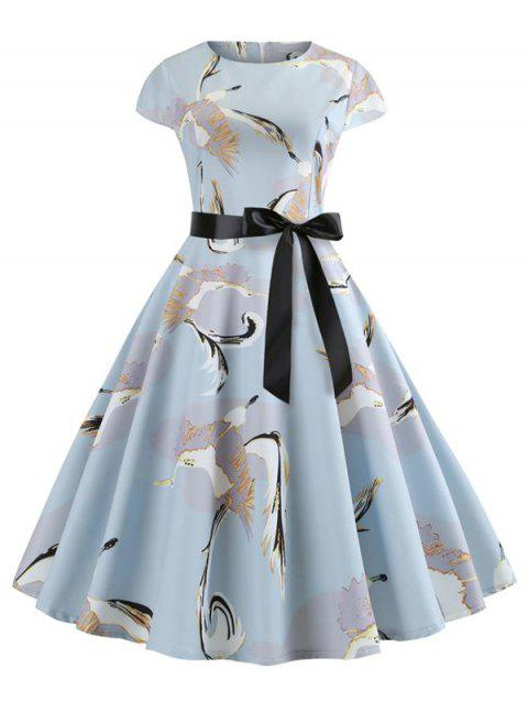Belted Crane Print A Line Dress - LIGHT BLUE L