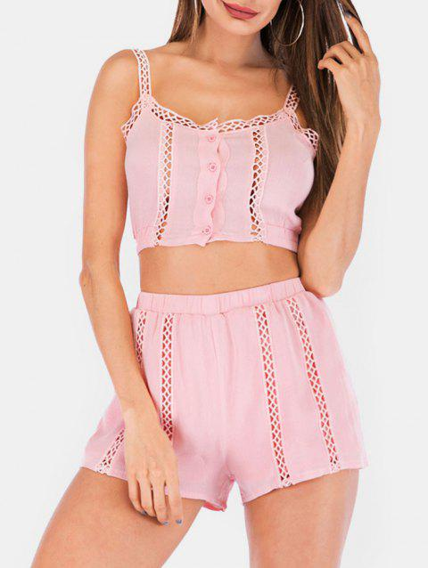 Crochet Trim Crop Top With Shorts Two Piece Set