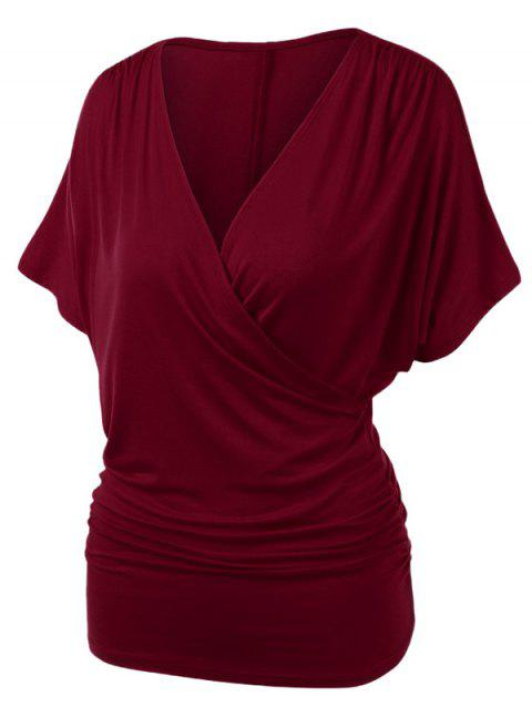 Plus Size Ruched Draped Wrap T-shirt - RED WINE 2X