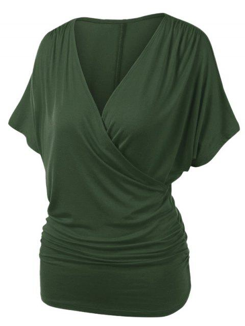Plus Size Ruched Draped Wrap T-shirt - ARMY GREEN 3X