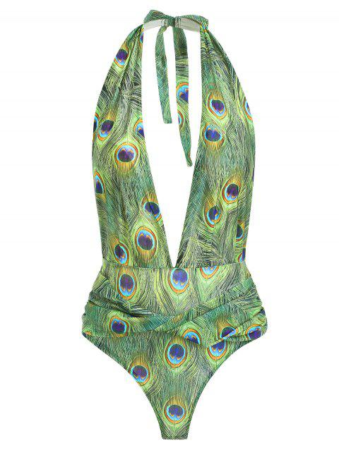 Feather Print Criss Cross Swimsuit - multicolor XL