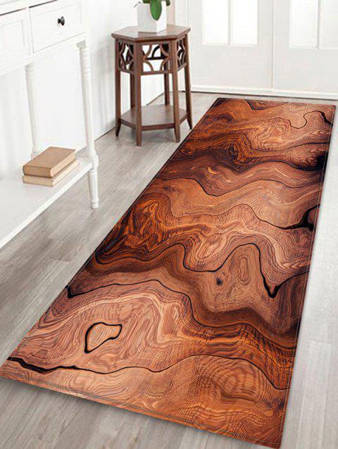 Wood Grain Pattern Water Absorption Floor Rug - CHESTNUT RED W24 X L71 INCH