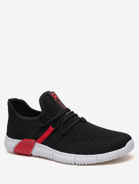 Tie Up Knit Mesh Running Sneakers - RED EU 39