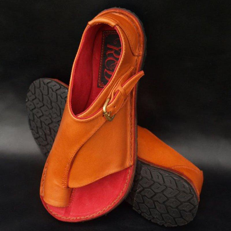 Flat Heel Buckle Strap Sandals - Orange EU 36