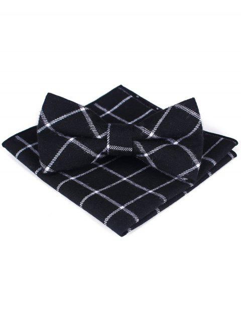 Plaid Bow Tie Handkerchief Set For Wedding Party - WHITE