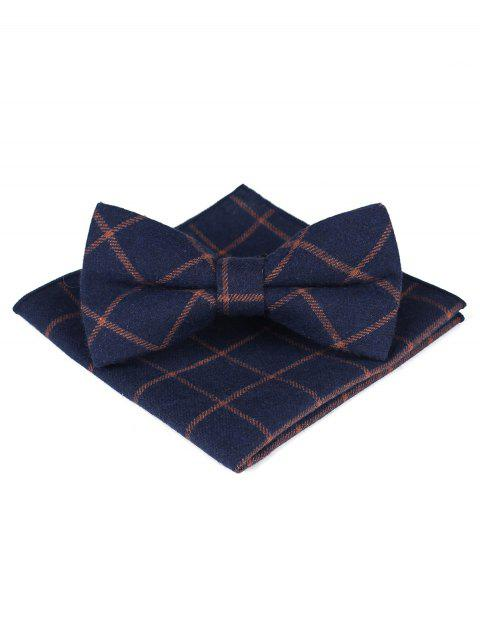 Plaid Bow Tie Handkerchief Set For Wedding Party - BROWN