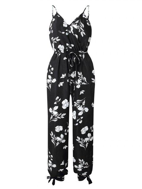Split Tied Flower Cami Jumpsuit - BLACK L