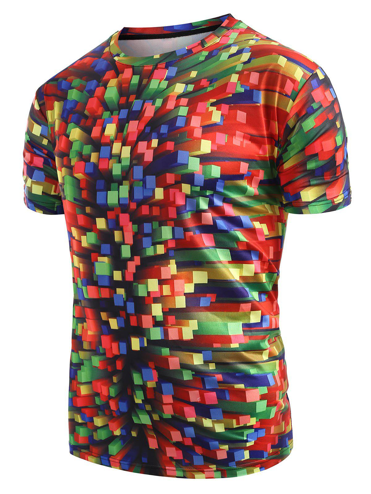 Colorful Printed Casual T-shirt - multicolor A S