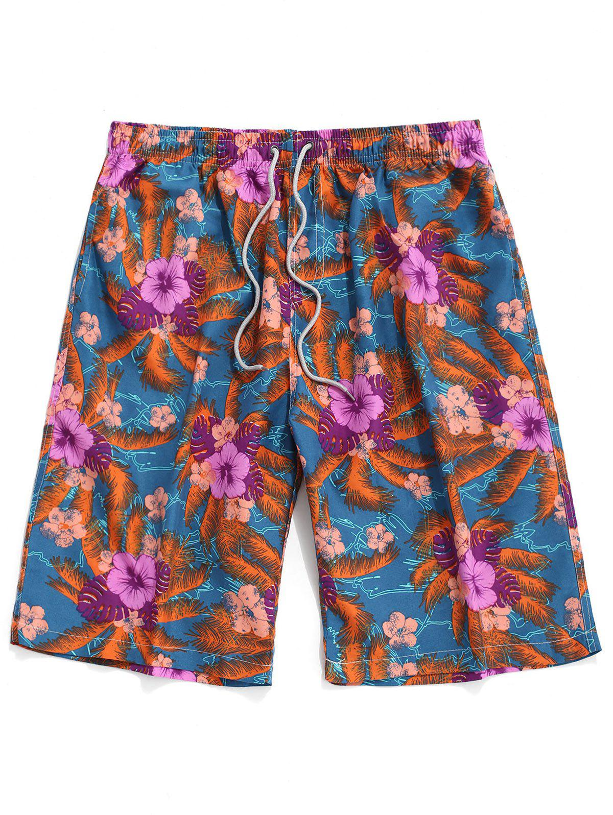 Floral Pattern Casual Board Shorts - multicolor A XS