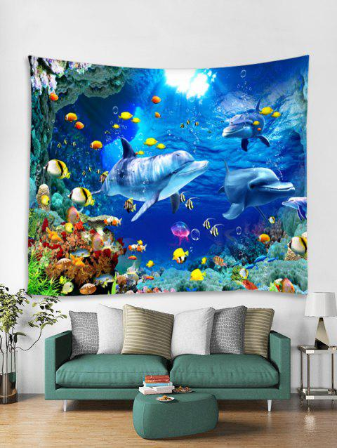 Underwater World Dolphin Pattern Tapestry Art Decoration - multicolor D W91 X L71 INCH
