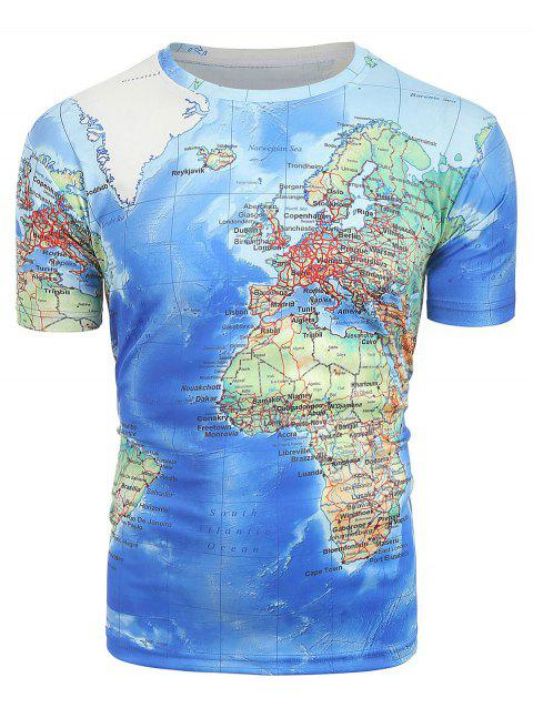 3D Map Printed Short Sleeves T-shirt - BLUE M