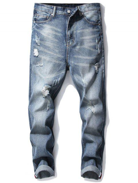Ripped Denim Pants - DENIM BLUE 36