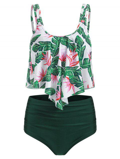 Floral Printed Overlay Tankini Set - DARK GREEN 2XL