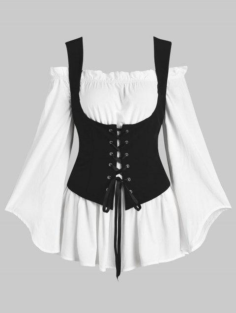 Off Shoulder Blouse and Lace-up Waistcoat Set - WHITE M