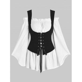 Off Shoulder Blouse and Lace-up Waistcoat Set