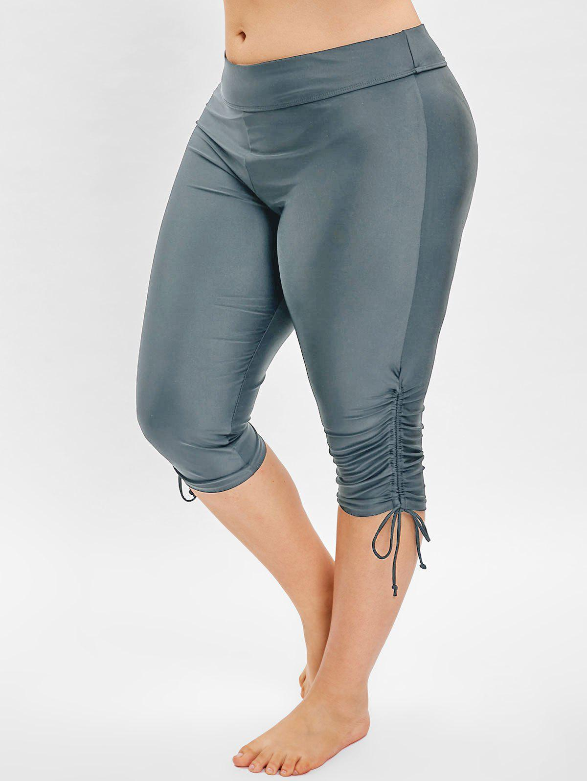 Plus Size Side Drawstring Knee Length Swim Pants - LIGHT SLATE GRAY 5X