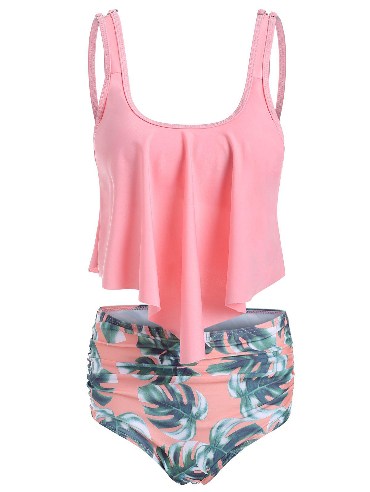 Floral Print Overlay Tankini Set - PINK 2XL