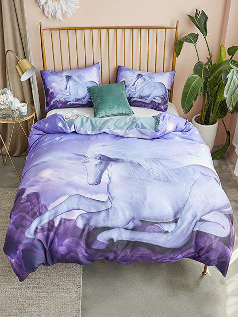 Horse Print 3PCS Bedding Set - LAVENDER BLUE KING SIZE