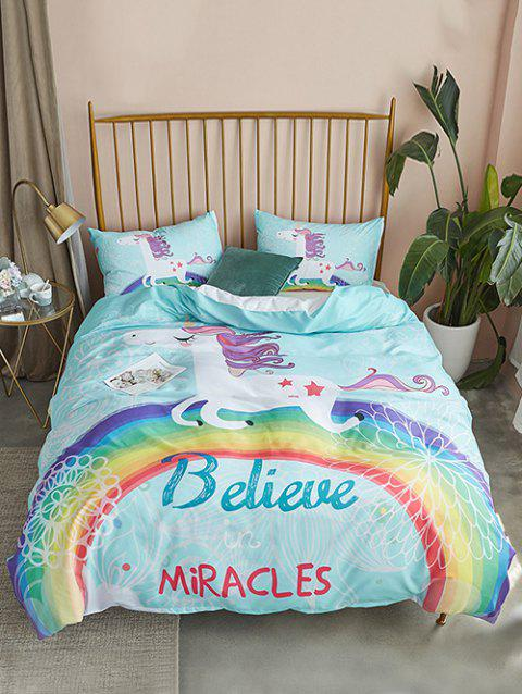 Cartoon Unicorn Print 3PCS Bedding Set - BLUE KING SIZE