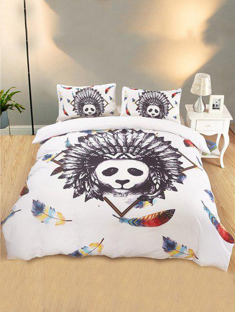 Indian Panda Feather Print 3PCS Bedding Set - WHITE QUEEN SIZE