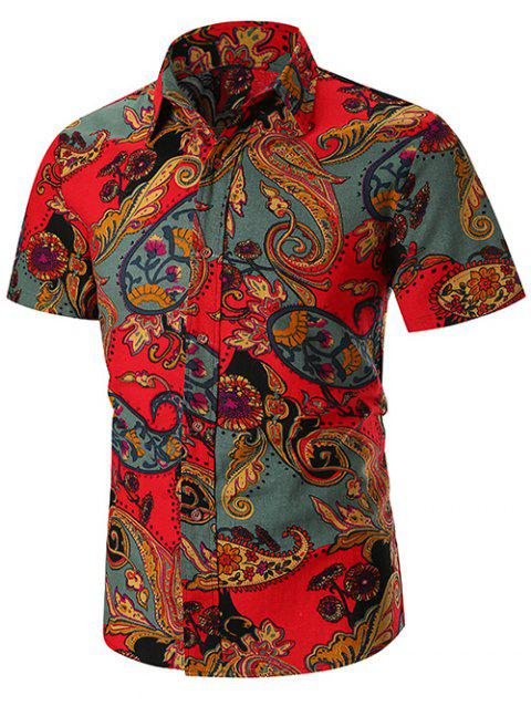 Flowers Paisley Print Casual Shirt - RED 3XL