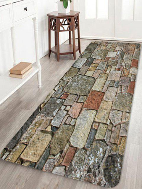 Stones Brick Wall Pattern Water Absorption Area Rug - multicolor B W24 X L71 INCH