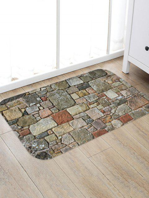 Stones Brick Wall Pattern Water Absorption Area Rug - multicolor B W16 X L24 INCH