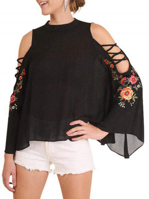 Flare Sleeve Embroidery Floral Blouse - BLACK XL