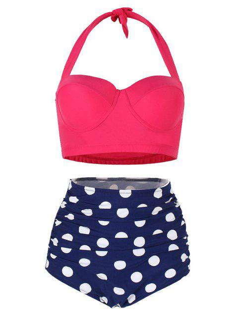 Polka Dot Ruched Halter Bikini Set